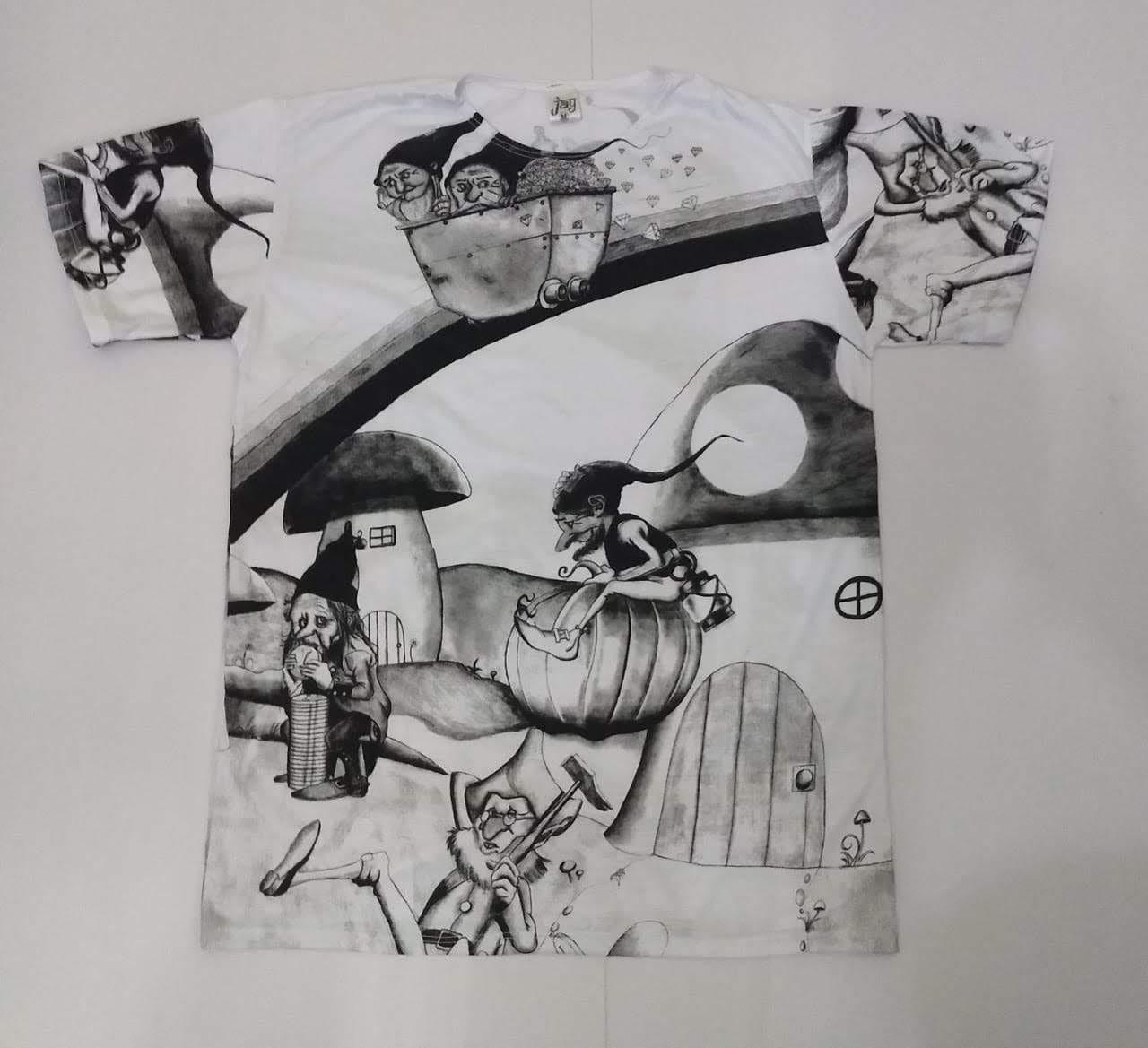 JA018 - Camiseta Branca (Gnomos Mineradores)