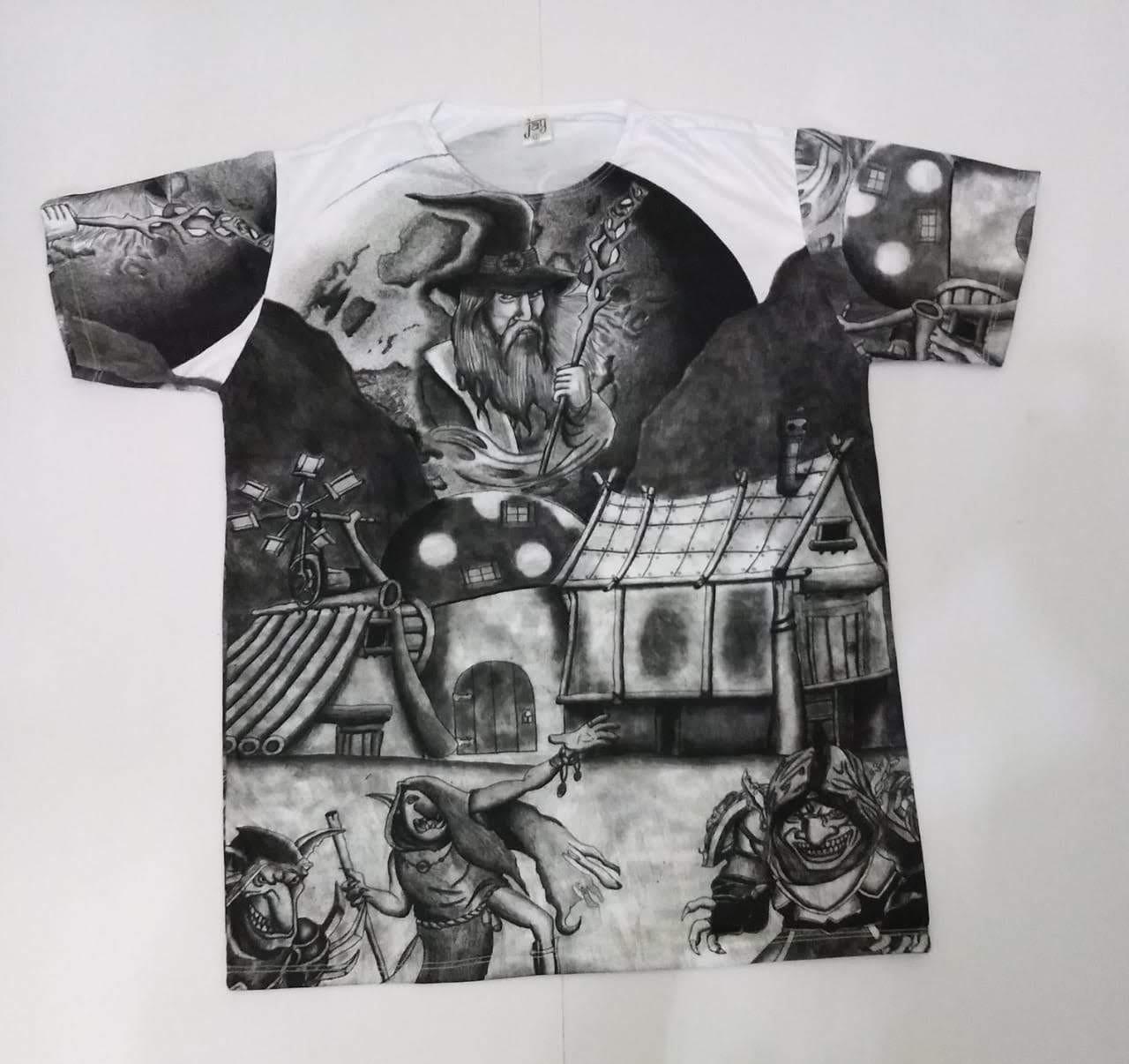 JA021 - Camiseta Branca (Mago c/ Elfos)
