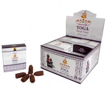 0779- Incenso Goloka Cone Cascata Yoga (Linha Ayurvedic)