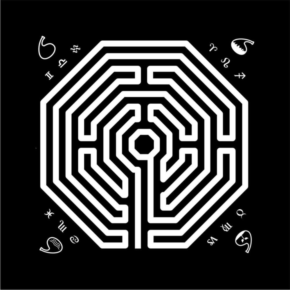 EG001-12 - Toalha p/ Tarot Labirinto Preta