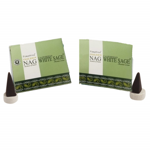 0193 - Incenso Golden Nag Cone White Sage