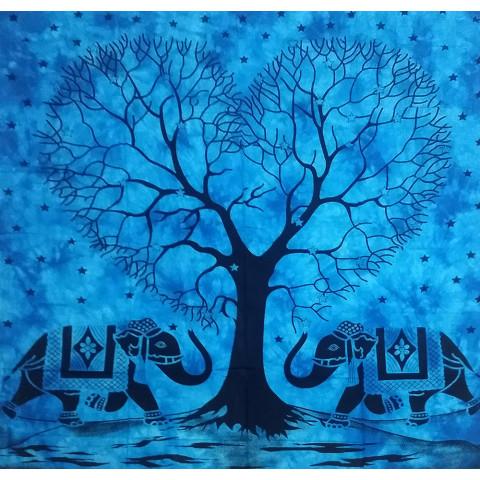 JMD806-43 - Manta Indiana Árvore Coração Azul Clara