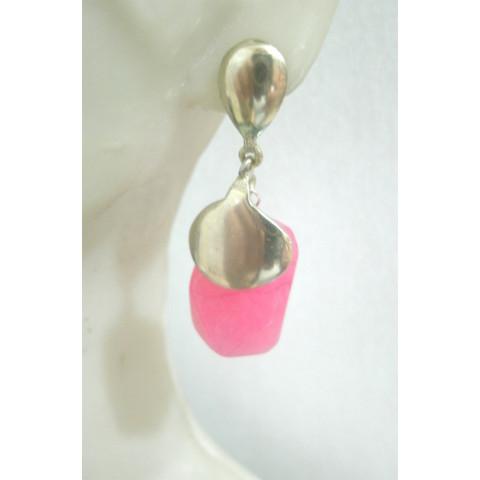 BR2004 - Brinco Prata Quartzo Pink