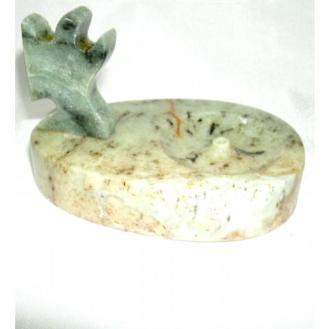 FA002-08 - Incensário Pedra Sabão Oval Anjo