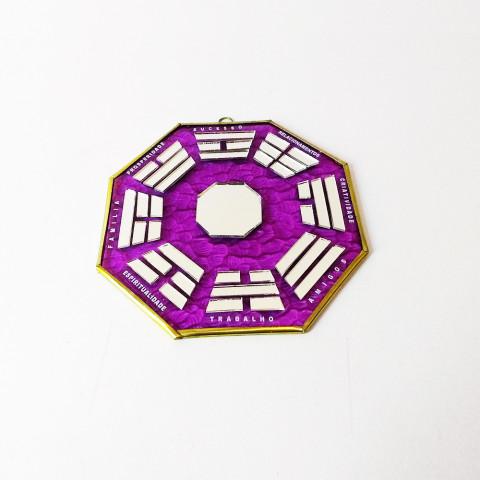RO5505-4 - Ba-gua Vidro C/ Trigramas e Escrita Roxo(15cm)