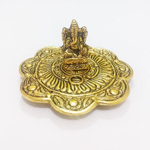DH159D- Incensário Metal Circular Ganesh Prosperidade