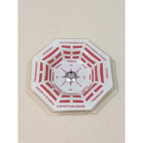 H1164- Incensário de Vidro Vertical  Bagua Vermelho