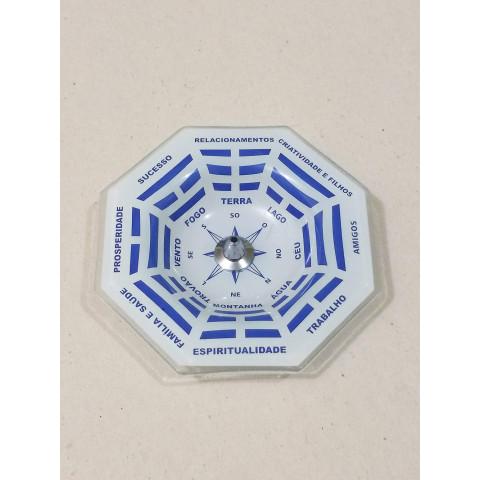 H1163 - Incensário de Vidro Vertical  Bagua Azul