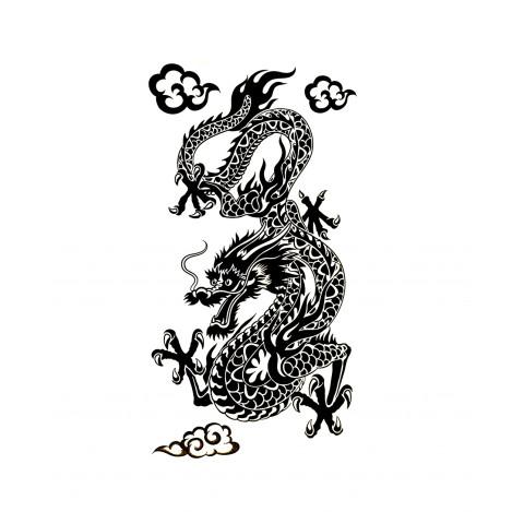 CPLKRD319310-01 Adesivo Decorativo Dragão Em Pé (Preto)