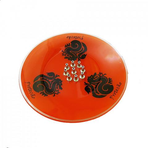 H1047 - Incensário De Vidro Dragão Vermelho