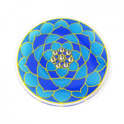 H1014 - Incensário De Vidro 8 Pontos Mandala Azul
