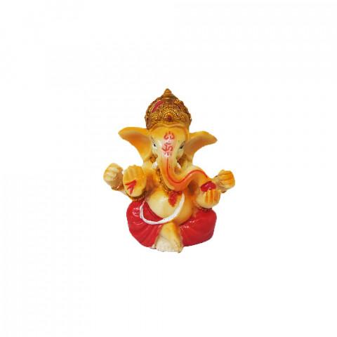 BP8389C - Escultura Pequena Ganesh Mudra Abhaya Vermelho (6cm)