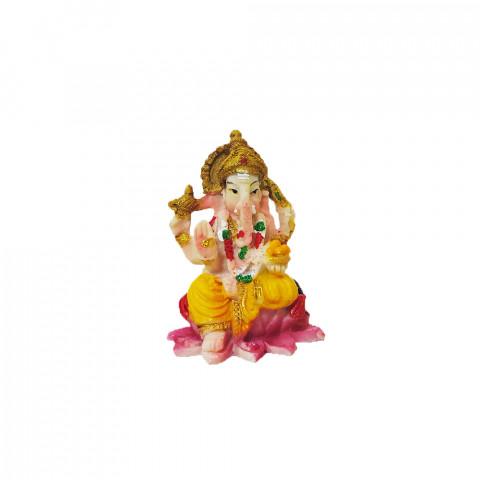 BP8389F - Escultura Pequena Ganesh Sentado na Flor de Lotus Colorido (6cm)