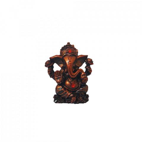 BP17468D - Escultura Pequena Ganesh Mudra Abhaya Cobreado (7cm)