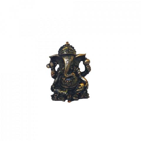 BP17468F - Escultura Pequena Ganesh Sentado Bronzeado (7cm)