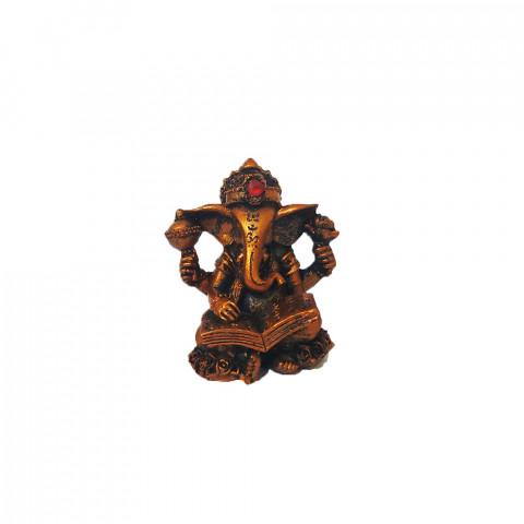BP17468H - Escultura Pequena Ganesh Escrevendo Cobreado (7cm)