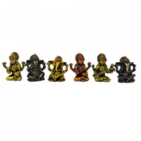 BP17468 - Kit c/ 6un Deuses Indianos (Colecão Resina Metalizada)