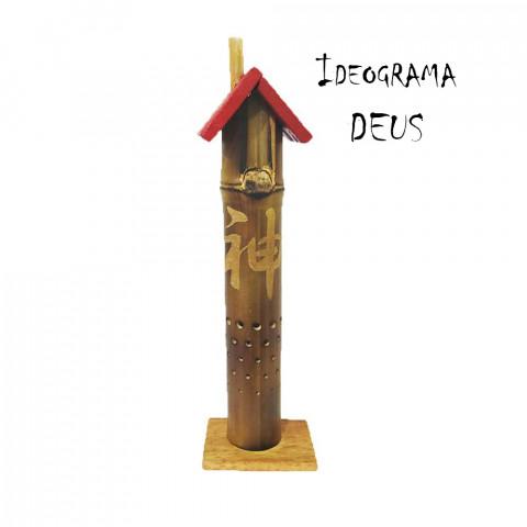 BB1737 - Incensário Torre Casinha Bambu - Ideograma Deus