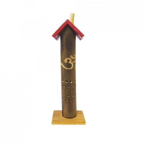 BB1738 - Incensário Torre Casinha Bambu - Símbolo OM