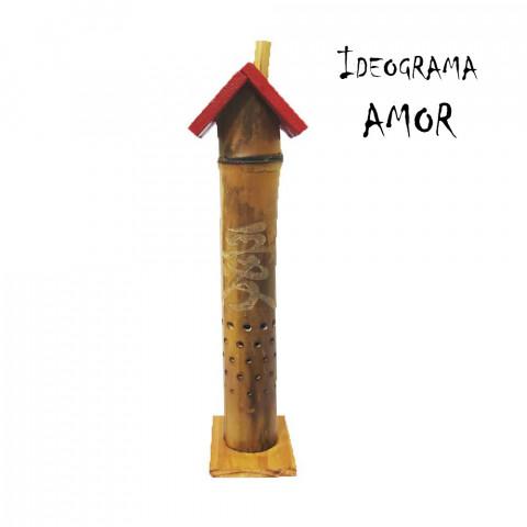 BB1736 - Incensário Torre Casinha Bambu - Ideograma Amor
