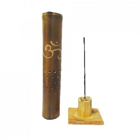 BB1733 - Incensário Torre Bambu Simples - Símbolo OM