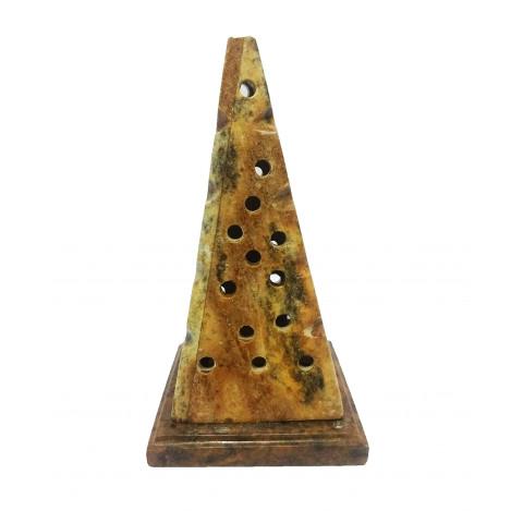 FA010-01- Incensário Pedra Sabão Defumador Pirâmide