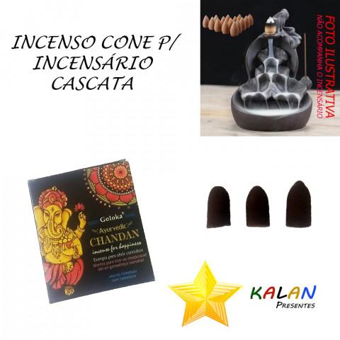 0772 - Incenso Goloka Cone Cascata Chandan (Ganesh)