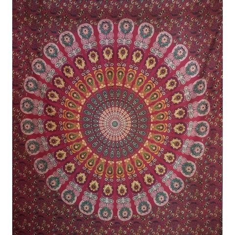 JMD806-01 - Manta Indiana Mandala C/ Flores Vermelha