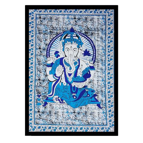 JMD806-008 - Manta Indiana Solteiro Ganesh Azul