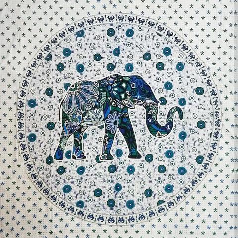 JMD806-26 - Toalha Indiana Mandala Elefante Floral Colorido