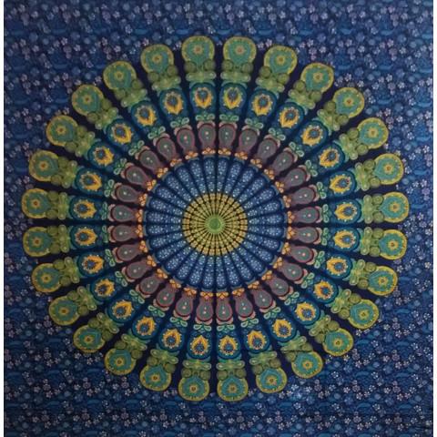 JMD806-69 - Manta Indiana Mandala Azul, verde e amarela