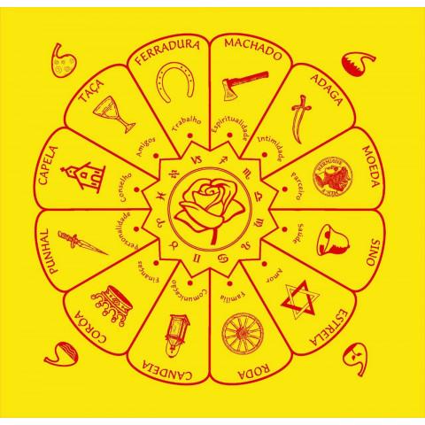 EG001-18 - Toalha p/ Tarot Mandala Cigana Amarela