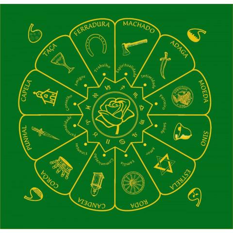EG001-19 - Toalha p/ Tarot Mandala Cigana Verde