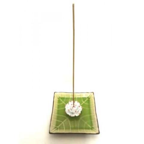 CPA130019418 - Incensário Porcelana Flor Lótus Folha Verde