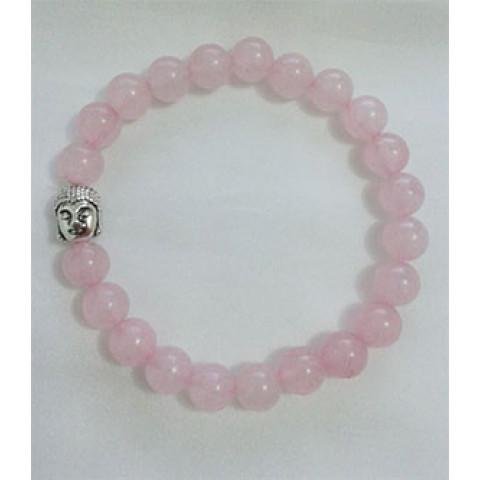 CPA408549506 - Pulseira T8 Jade Cristal Rosa c/ Buda