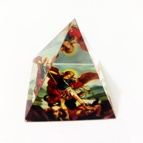 DEC117-840 - Pirâmide de Vidro Cristalizado c/ Arcanjo Miguel