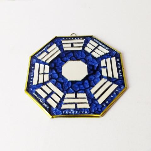 RO5505-3- Ba-gua Vidro C/ Trigramas e Escrita Azul (15cm)