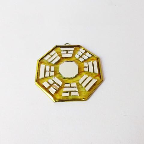 RO5500-3 - Bagua de Espelho c/ Escrita Amarelo (9 cm)