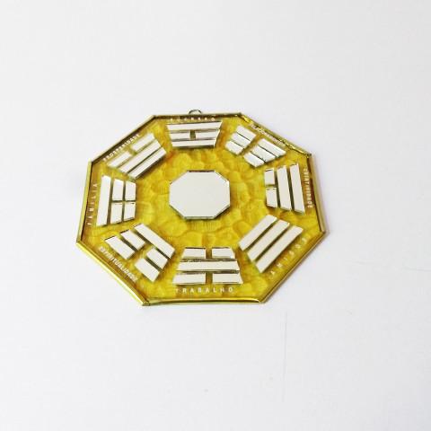 RO5507-4 - Ba-gua de Espelho C/ Escrita Amarelo (12cm)