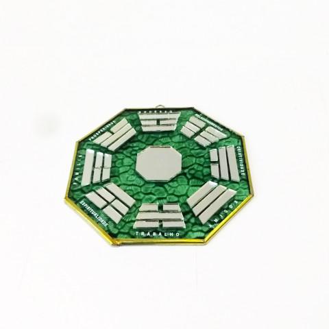 RO5505-5 - Ba-gua Vidro C/ Trigramas e Escrita Verde (15cm)