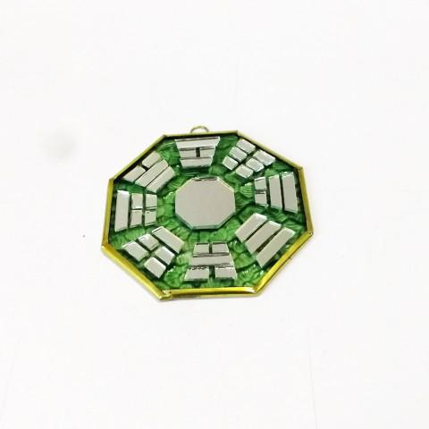 RO5500-4 - Bagua de Espelho c/ Escrita Verde (9 cm)