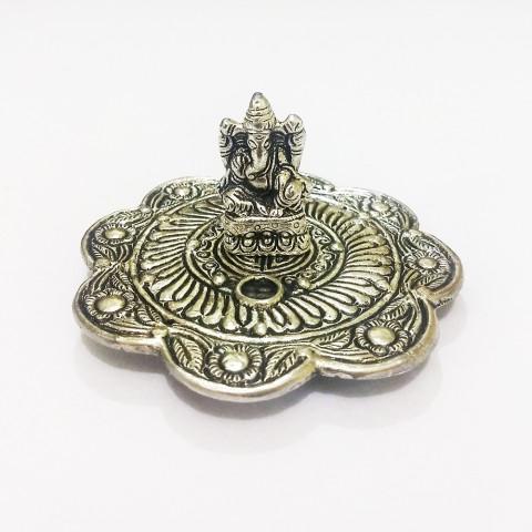 DH159P- Incensário Metal Circular Ganesh Prosperidade
