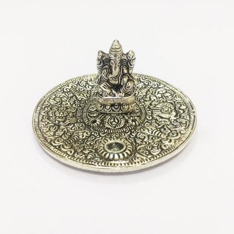 DH129P- Incensário  Metal Circular Ganesh