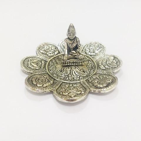 DH146P- Incensário  Metal Circular Buda Tailandês Flor