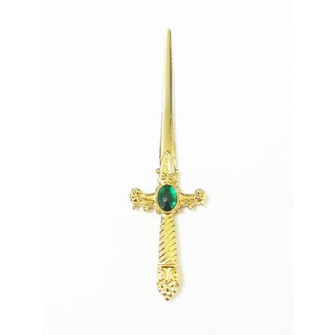 PU010-4 - Punhal p/ Ritual Dourado Verde