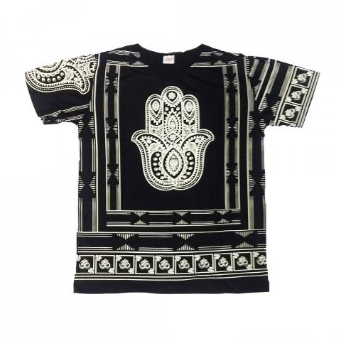 JA049 - Camiseta Preta (Mão Hamsa)