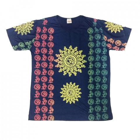 JA052 - Camiseta Azul (Flores e símbolo OM)