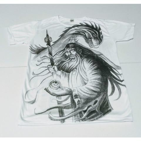 JA048 - Camiseta Branca (Mago c/ Dragão)
