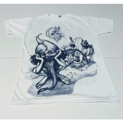 JA050 - Camiseta Branca (Duende Pensando)