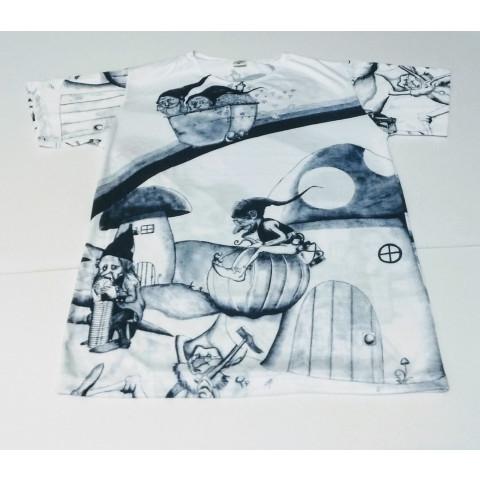 JA052 - Camiseta Branca (Gnomos Mineradores Azul)